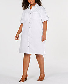 Style & Co Plus Size Cotton Raw-Hem Denim Shirtdress, Created for Macy's