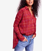 154c02783c Free People Break My Stride Metallic Plaid Tunic Button-Up Shirt