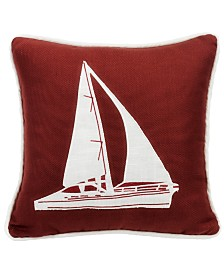 Red Sailboat 18x18 Embroidery Pillow