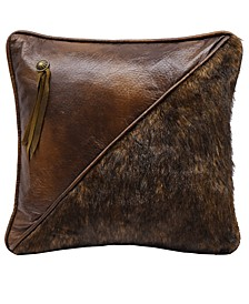 """Half Faux Fur and Faux Leather 18""""x18"""" pillow"""