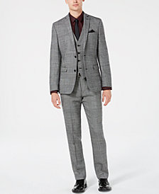 Bar III Men's Slim-Fit Black/White Plaid Suit Separates, Created for Macy's