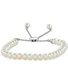 White Cultured Freshwater Pearl (6-1/2mm) Bolo Bracelet in Sterling Silver (Also in Gray or Pink Cultured Freshwater Pearl)