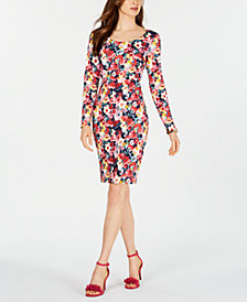 Betsey Johnson Floral-Print Long-Sleeve Sheath Dress