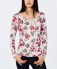 Tommy Hilfiger Floral-Print Scoop-Neck Top, Created for Macy's
