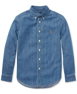 Woolrich Boys Chambray Collared Shirt Size 6~New with Tags~Cotton