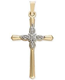 Diamond Accent Cross Pendant in 14k Gold & White Gold