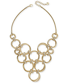 "Alfani Gold-Tone Crystal Accent Multi-Hoop Link Statement Necklace, 17 + 2"" extender, Created for Macy's"