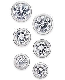 Silver-Tone 3-Pc. Set Cubic Zirconia Bezel Stud Earrings, Created for Macy's