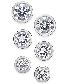 Alfani Silver-Tone 3-Pc. Set Cubic Zirconia Bezel Stud Earrings, Created for Macy's