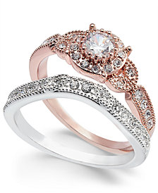 Charter Club Two-Tone 2-Pc. Set Crystal Stack Rings, Created for Macy's