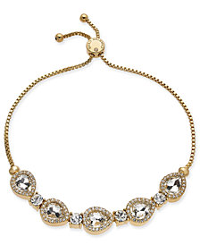 Charter Club Gold-Tone Crystal Bolo Bracelet, Created for Macy's