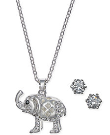 Charter Club Silver-Tone 2-Pc. Set Crystal Elephant Pendant Necklace & Stud Earrings, Created for Macy's