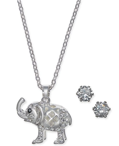 a5ca1a2829427 Charter Club Silver-Tone 2-Pc. Set Crystal Elephant Pendant Necklace ...