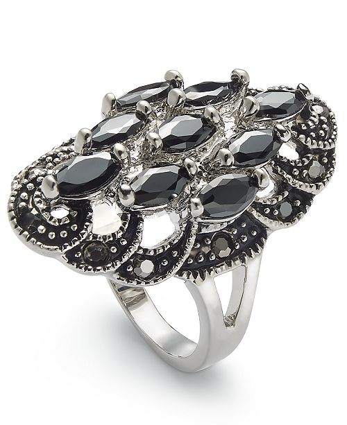 Charter Club Silver-Tone Crystal Oval Statement Ring, Created for Macy's