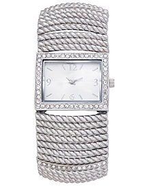 Charter Club Women's Silver-Tone Stretch Bracelet Watch 42mm, Created for Macy's