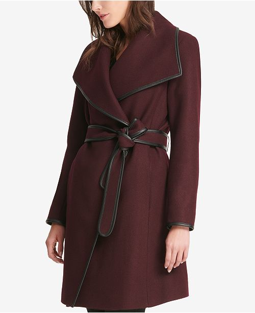 13d8f528fc508 ... DKNY Faux-Leather-Trim Wrap Coat