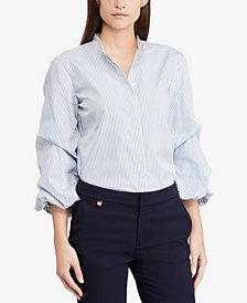 Lauren Ralph Lauren Puffed-Sleeve Cotton Shirt
