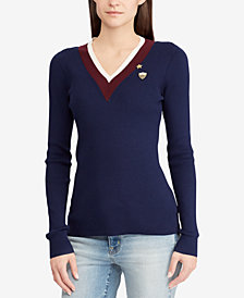 Lauren Ralph Lauren Striped Patch Sweater