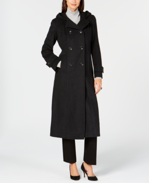 Anne Klein Double-breasted Hooded Coat In Charcoal