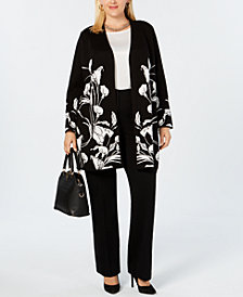 Alfani Plus Size Floral Open-Front Cardigan, Created for Macy's