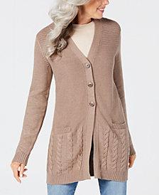 Karen Scott Long-Sleeve V-Neck Cardigan, Created for Macy's