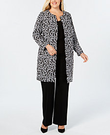 Alfani Plus Size Animal-Print Jacket, Created for Macy's