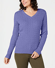 Karen Scott V-Neck Cable-Knit Sweater, Created for Macy's