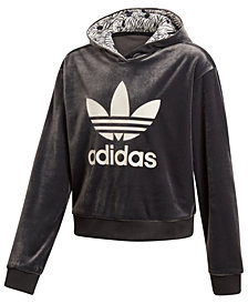 adidas Big Girls Originals Cropped Velour Hoodie