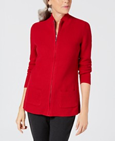 Karen Scott Petite Zip-Front Sweater, Created for Macy's