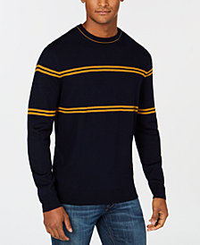 Club Room Men's Merino Striped Crewneck Sweater, Created for Macy's
