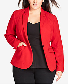 City Chic Trendy Plus Size One-Button Blazer
