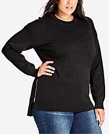 City Chic Trendy Plus Size Zip Sweater