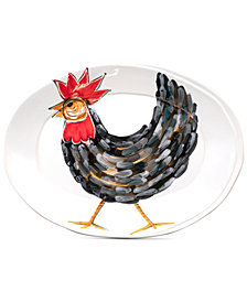 VIETRI Fortunata Rooster Small Oval Platter