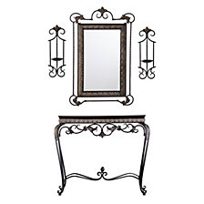 Capshaw Console/Mirror/Sconce Pair 4-pc Set, Quick Ship