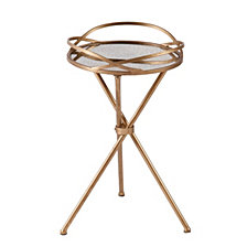 Leslie Metal Mirrored Accent Table, Quick Ship