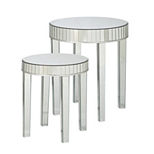 Round Mirrored Nesting Table (Set Of 2), Quick Ship
