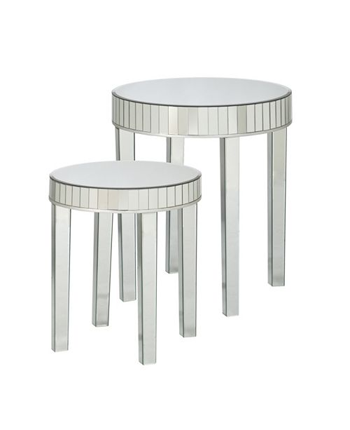 Southern Enterprises Round Mirrored Nesting Table (Set Of 2)