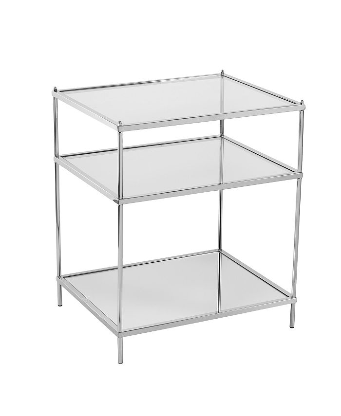 Southern Enterprises - Knox Glam Mirrored Side Table, Quick Ship