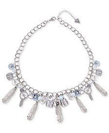 "GUESS Silver-Tone Crystal, Bead & Chain Tassel Logo Charm Statement Necklace, 18"" + 2"" extender"