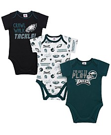 Gerber Childrenswear Philadelphia Eagles 3 Pack Creeper Set, Infants (0-9 Months)