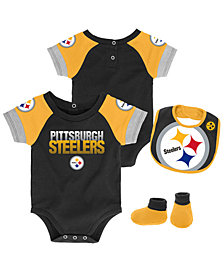 Outerstuff Pittsburgh Steelers Dash Bib & Bootie Set, Infants (0-9 Months)