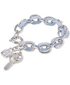 GUESS Silver-Tone Crystal Padlock & Key Charm Woven Link Bracelet