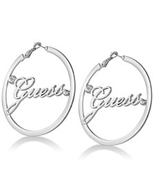 GUESS Crystal & Logo Hoop Earrings
