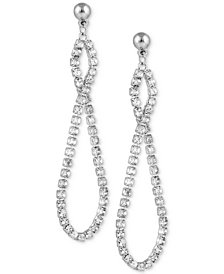 GUESS Silver-Tone Pavé Infinity Drop Earrings