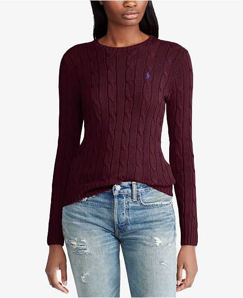 ade57fa91588b4 Polo Ralph Lauren Cable-Knit Cotton Sweater & Reviews - Women - Macy's