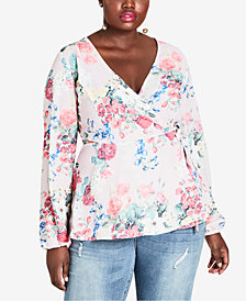City Chic Trendy Plus Size Floral-Print Faux-Wrap Top