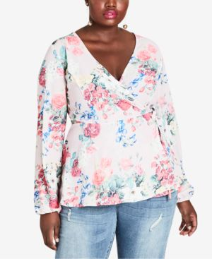 Trendy Plus Size Floral-Print Faux-Wrap Top, Pretty Pose