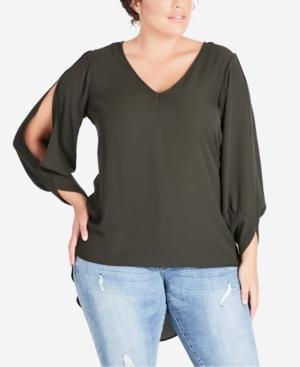 cc0a27035c7 City Chic Trendy Plus Size Split-Sleeve High-Low Tunic In Khaki ...
