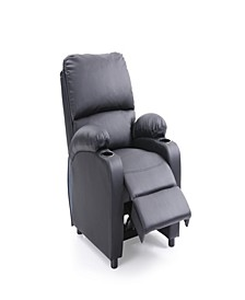 Recliner with 2-Cup Holders in Black