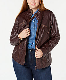 Jou Jou Juniors' Plus Size Faux-Leather Moto Jacket